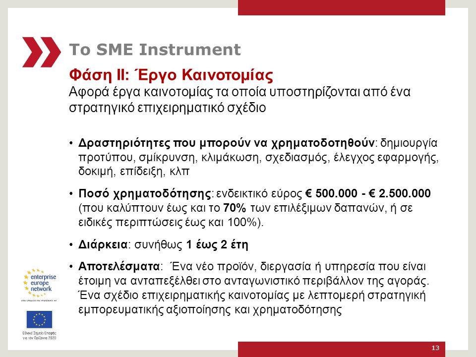 Φάση ΙΙ: Έργο Καινοτομίας Αφορά έργα καινοτομίας τα οποία υποστηρίζονται από ένα στρατηγικό επιχειρηματικό σχέδιο Δραστηριότητες που μπορούν να χρηματοδοτηθούν: δημιουργία προτύπου, σμίκρυνση, κλιμάκωση, σχεδιασμός, έλεγχος εφαρμογής, δοκιμή, επίδειξη, κλπ Ποσό χρηματοδότησης: ενδεικτικό εύρος € 500.000 - € 2.500.000 (που καλύπτουν έως και το 70% των επιλέξιμων δαπανών, ή σε ειδικές περιπτώσεις έως και 100%).