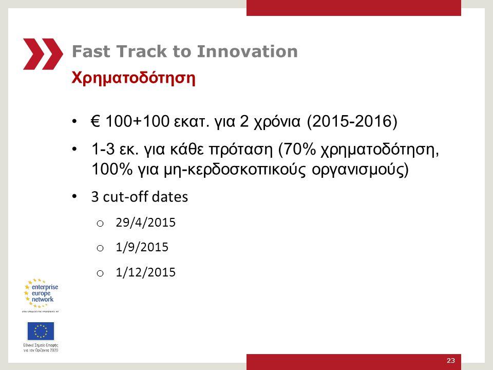 Χρηματοδότηση € 100+100 εκατ.για 2 χρόνια (2015-2016) 1-3 εκ.
