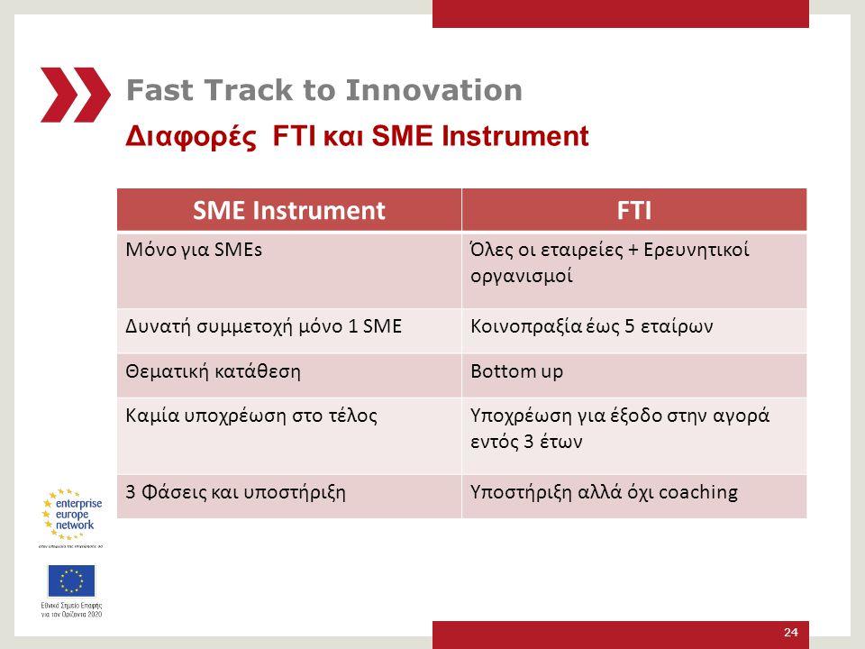 Διαφορές FTΙ και SME Instrument 24 SME InstrumentFTI Μόνο για SMEsΌλες οι εταιρείες + Ερευνητικοί οργανισμοί Δυνατή συμμετοχή μόνο 1 SMEΚοινοπραξία έως 5 εταίρων Θεματική κατάθεσηBottom up Καμία υποχρέωση στο τέλοςΥποχρέωση για έξοδο στην αγορά εντός 3 έτων 3 Φάσεις και υποστήριξηΥποστήριξη αλλά όχι coaching Fast Track to Innovation