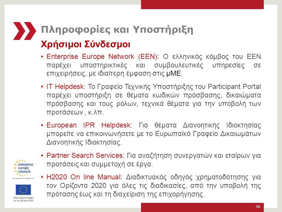 Χρήσιμοι Σύνδεσμοι Enterprise Europe Network (ΕΕΝ): Ο ελληνικός κόμβος του EEN παρέχει υποστηρικτικές και συμβουλευτικές υπηρεσίες σε επιχειρήσεις, με ιδιαίτερη έμφαση στις μΜΕ.