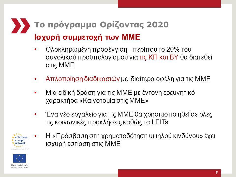 Ισχυρή συμμετοχή των ΜΜΕ Ολοκληρωμένη προσέγγιση - περίπου το 20% του συνολικού προϋπολογισμού για τις ΚΠ και ΒY θα διατεθεί στις ΜΜΕ Απλοποίηση διαδικασιών με ιδιαίτερα οφέλη για τις ΜΜΕ Μια ειδική δράση για τις ΜΜΕ με έντονη ερευνητικό χαρακτήρα «Καινοτομία στις ΜΜΕ» Ένα νέο εργαλείο για τις ΜΜΕ θα χρησιμοποιηθεί σε όλες τις κοινωνικές προκλήσεις καθώς τα LEITs Η «Πρόσβαση στη χρηματοδότηση υψηλού κινδύνου» έχει ισχυρή εστίαση στις ΜΜΕ 5 Το πρόγραμμα Ορίζοντας 2020