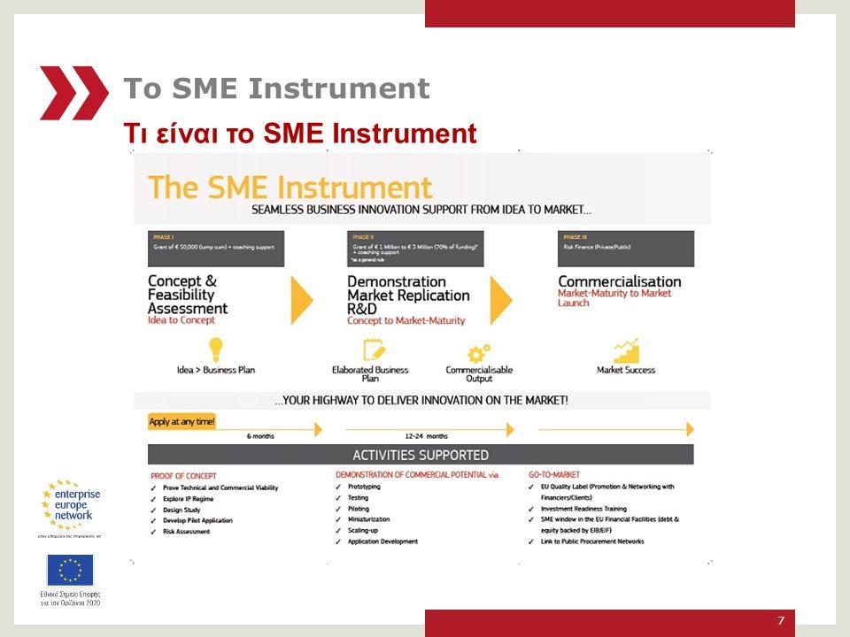 Τι είναι το SME Instrument Εργαλείο του Ορίζοντα 2020 για τη χρηματοδότηση της καινοτομίας με υψηλές προοπτικές Αφορά Μικρομεσαίες Επιχειρήσεις (μΜΕ) που δραστηριοποιούνται κάτω από τους τομείς των Κοινωνικών Προκλήσεων και της Βιομηχανικής Υπεροχής Προϋπολογισμός περίπου € 3.000.000.000 για την περίοδο 2014-2020 8 Το SME Instrument