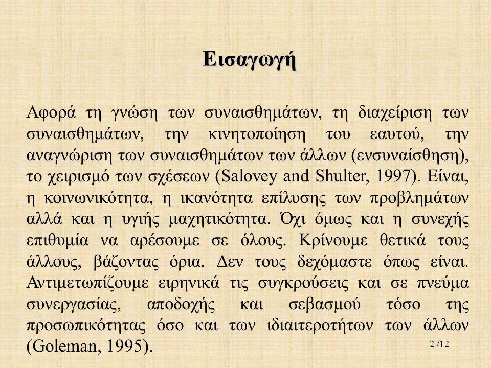 Εισαγωγή Αφορά τη γνώση των συναισθημάτων, τη διαχείριση των συναισθημάτων, την κινητοποίηση του εαυτού, την αναγνώριση των συναισθημάτων των άλλων (ενσυναίσθηση), το χειρισμό των σχέσεων (Salovey and Shulter, 1997).