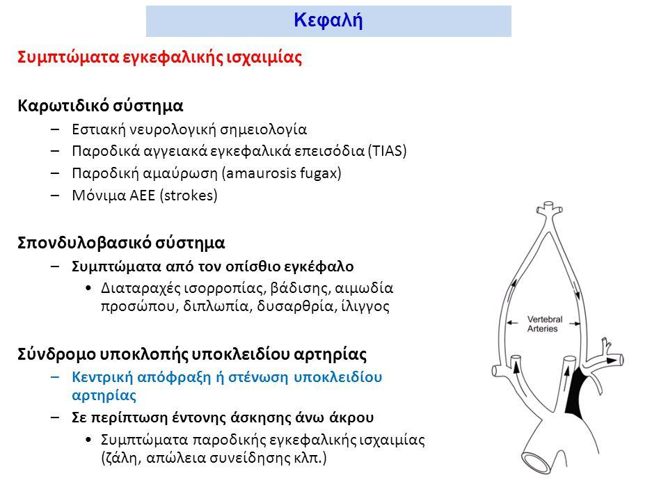 Εξέταση – εργαστηριακή διερεύνηση –Επισκόπηση Σφύζουσες μάζες τραχήλου (ανευρύσματα έσω καρωτίδος, όγκοι καρωτιδικού σωματίου) –Ακρόαση Φυσήματα διχασμού καρωτίδων –Ψηλάφηση Σφυγμός κοινής καρωτίδος κατά το πρόσθιο χείλος του στερνοκλειδομαστοειδούς μυός –Παρακλινικός έλεγχος Υπερηχοτομογράφημα duplex Αγγειογραφία αορτικού τόξου-καρωτίδων- σπονδυλικών Υπολογιστική τομογραφία εγκεφάλου Κεφαλή