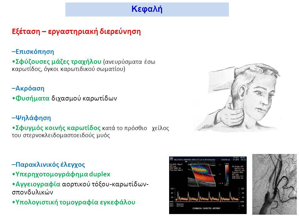 Αντικειμενική εξέταση Επισκόπηση Σφύζουσες μάζες Ανευρύσματα κοιλιακής αορτής, μηριαίας Χροιά Ωχρότητα (ΧΑΑ, οξεία αρτηριακή απόφραξη) Ερυθρότητα δακτύλων (νόσος Buerger, διαβήτης) Κοιλιά - κάτω άκρα