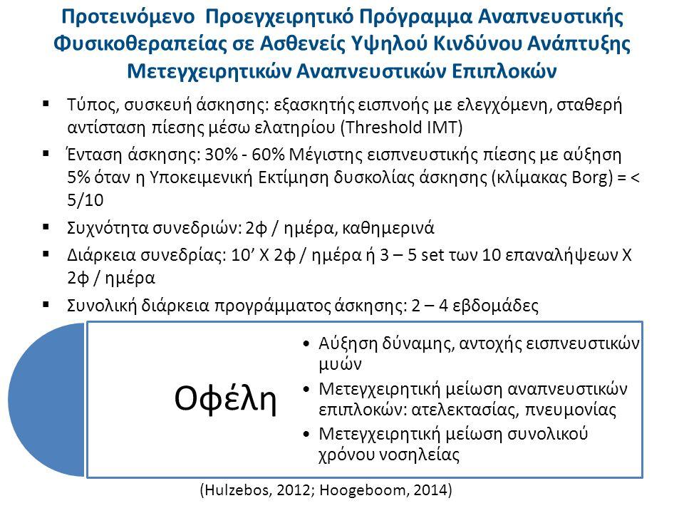 Προτεινόμενο Προεγχειρητικό Πρόγραμμα Αερόβιας Άσκησης σε Ασθενείς Χαμηλού Καρδιοαγγειακού Κινδύνου (1 από 2)  Υπό την επιτήρηση φυσικοθεραπευτή  Τύπος, μέθοδος άσκησης: αερόβια, διαλειμματική  Συσκευές άσκησης: ποδήλατο, δαπεδοεργόμετρο, κυκλοεργόμετρο άνω άκρων, σκαλοπάτια  Συχνότητα συνεδριών: 2φ/εβδομάδα  Συνολική διάρκεια προγράμματος άσκησης: 8 εβδομάδες (Arthur, 2000; O' Doherty, 2013)