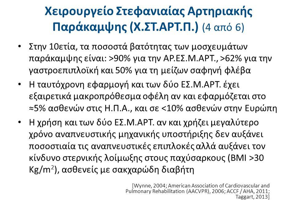 Χειρουργείο Στεφανιαίας Αρτηριακής Παράκαμψης (Χ.ΣΤ.ΑΡΤ.Π.) (5 από 6) Σε διπλή Χ.ΣΤ.ΑΡΤ.Π., ο ασθενής δέχεται γενική αναισθησία, διασωλήνωση, μέση στερνοτομή, σταθεροποίηση των δύο στερνικών άκρων που έλκονται προς τα άνω και έξω από τον στερνικό διαστολέα Γίνεται λήψη του ελεύθερου φλεβικού μοσχεύματος από την μείζονα σαφηνή φλέβα και παρασκευή της Αριστερής Έσω Μαστικής Αρτηρίας (ΑΡ.ΕΣ.Μ.ΑΡΤ.) με διάνοιξη του αριστερού υπεζοκώτα, γεγονός που επιβαρύνει την μετεγχειρητική αναπνευστική λειτουργία (Adams, 2001; AACVPR, 2006; Martin, 2006)