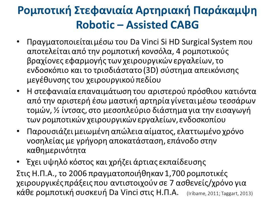 Ρομποτική Στεφανιαία Αρτηριακή Παράκαμψη Robotic – Assisted CABG Πραγματοποιείται μέσω του Da Vinci Si HD Surgical System που αποτελείται από την ρομπ