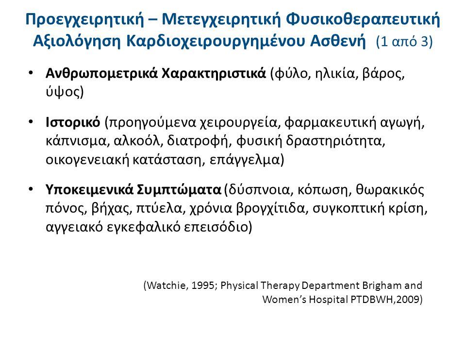 Προεγχειρητική – Μετεγχειρητική Φυσικοθεραπευτική Αξιολόγηση Καρδιοχειρουργημένου Ασθενή (2 από 3) Αντικειμενικά Ευρήματα – Ζωτικά σημεία σε ηρεμία – άσκηση (καρδιακή συχνότητα, αναπνευστική συχνότητα, αρτηριακή πίεση) – Σπιρομέτρηση, SpO 2, μέτρηση μέγιστης εισπνευστικής / εκπνευστικής πίεσης – Μυοσκελετικό σύστημα (εύρος τροχιάς, δύναμη, αντοχή, λειτουργικότητα) – Νευρολογικό σύστημα (πόνος, αισθητικότητα, ισορροπία, συναρμογή, συνεργασία, εγρήγορση) – Επισκόπηση (κυάνωση, οίδημα, πληκτροδακτυλία, δέρμα, μάτια, χειρουργικές τομές, θώρακας, τύπος αναπνοής) (Watchie, 1995; Physical Therapy Department Brigham and Women's Hospital PTDBWH,2009)