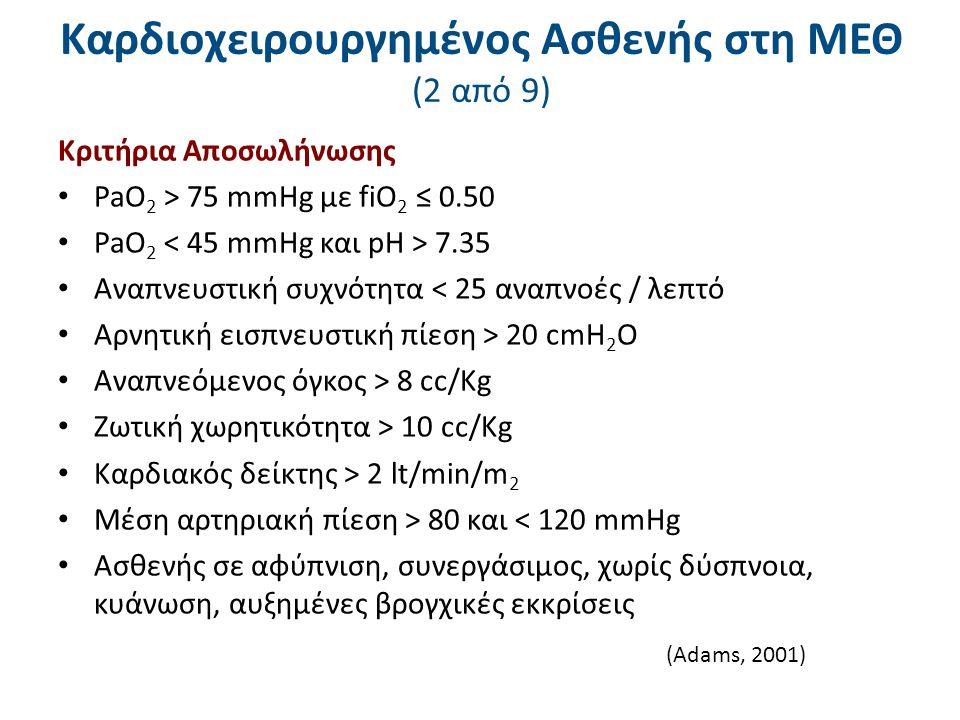 Καρδιοχειρουργημένος Ασθενής στη ΜΕΘ (2 από 9) Κριτήρια Αποσωλήνωσης PaO 2 > 75 mmHg με fiO 2 ≤ 0.50 PaO 2 7.35 Αναπνευστική συχνότητα < 25 αναπνοές /