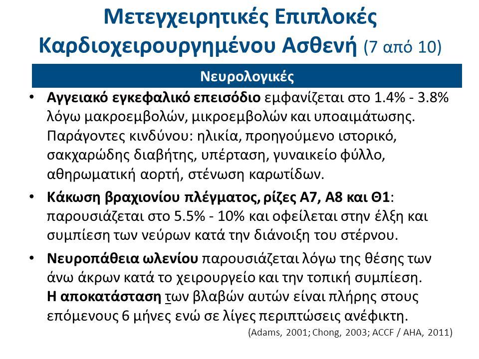 Μετεγχειρητικές Επιπλοκές Καρδιοχειρουργημένου Ασθενή (7 από 10) Αγγειακό εγκεφαλικό επεισόδιο εμφανίζεται στο 1.4% - 3.8% λόγω μακροεμβολών, μικροεμβ
