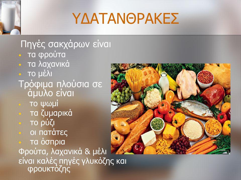 ΥΔΑΤΑΝΘΡΑΚΕΣ Πηγές σακχάρων είναι τα φρούτα τα λαχανικά το μέλι Τρόφιμα πλούσια σε άμυλο είναι το ψωμί τα ζυμαρικά το ρύζι οι πατάτες τα όσπρια Φρούτα
