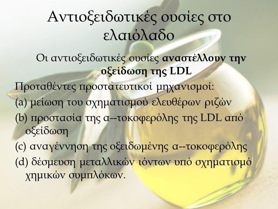 Αντιοξειδωτικές ουσίες στο ελαιόλαδο Οι αντιοξειδωτικές ουσίες αναστέλλουν την οξείδωση της LDL Προταθέντες προστατευτικοί μηχανισμοί: (a) μείωση του σχηματισμού ελευθέρων ριζών (b) προστασία της α--τοκοφερόλης της LDL από οξείδωση (c) αναγέννηση της οξειδωμένης α--τοκοφερόλης (d) δέσμευση μεταλλικών ιόντων υπό σχηματισμό χημικών συμπλόκων.