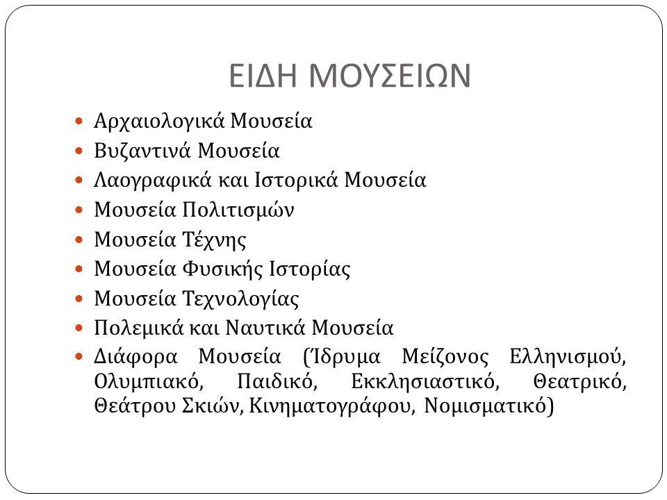 ΕΙΔΗ ΜΟΥΣΕΙΩΝ Αρχαιολογικά Μουσεία Βυζαντινά Μουσεία Λαογραφικά και Ιστορικά Μουσεία Μουσεία Πολιτισμών Μουσεία Τέχνης Μουσεία Φυσικής Ιστορίας Μουσεί