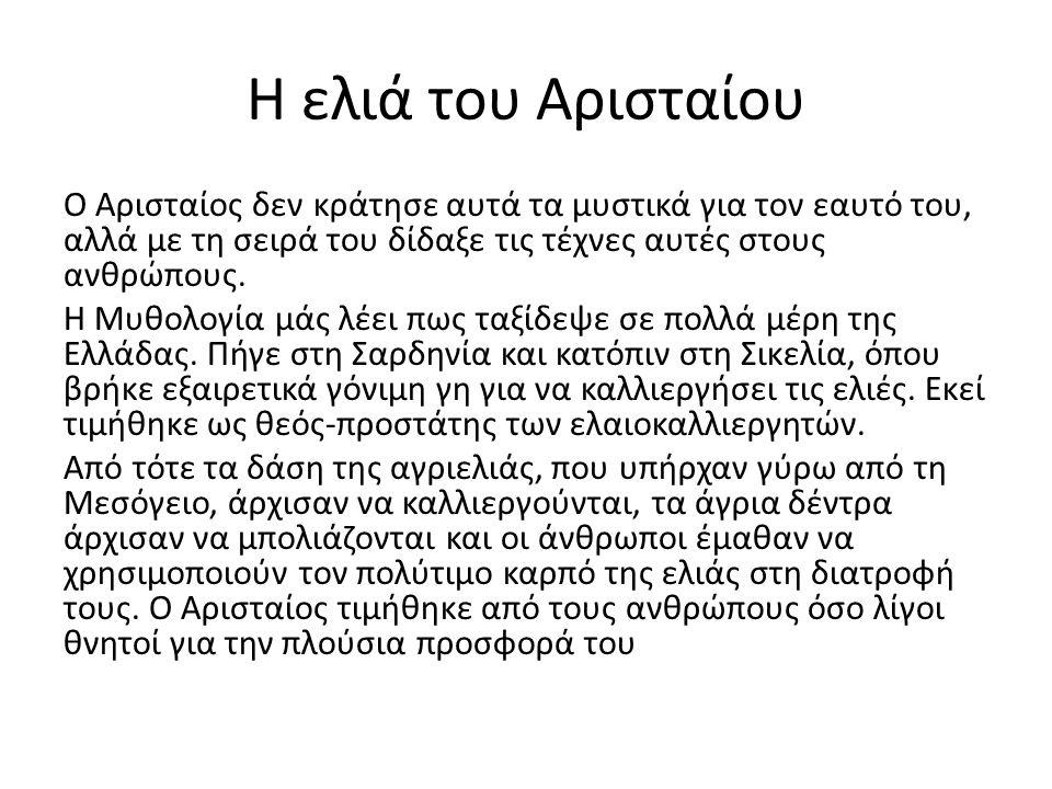 Η ελιά του Αρισταίου Ο Αρισταίος δεν κράτησε αυτά τα μυστικά για τον εαυτό του, αλλά με τη σειρά του δίδαξε τις τέχνες αυτές στους ανθρώπους. Η Μυθολο