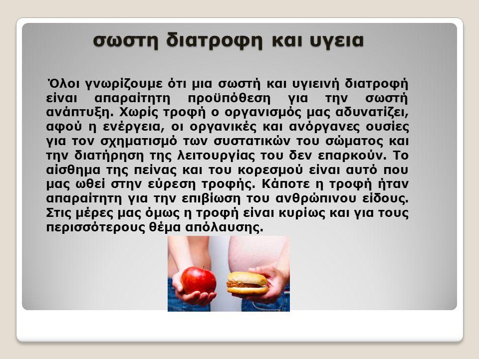 Σχέση διατροφής και υγείας και διατροφικές διαταραχές.