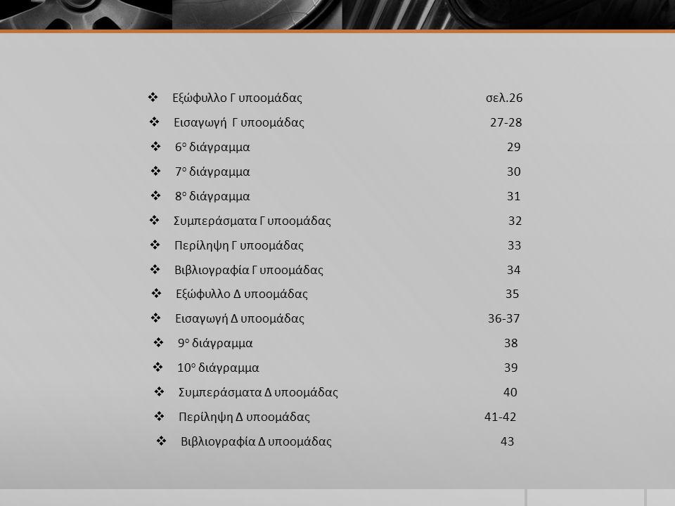  Εξώφυλλο Γ υποομάδας σελ.26  Εισαγωγή Γ υποομάδας 27-28  6 ο διάγραμμα 29  7 ο διάγραμμα 30  8 ο διάγραμμα 31  Συμπεράσματα Γ υποομάδας 32  Περίληψη Γ υποομάδας 33  Βιβλιογραφία Γ υποομάδας 34  Εξώφυλλο Δ υποομάδας 35  Εισαγωγή Δ υποομάδας 36-37  9 ο διάγραμμα 38  10 ο διάγραμμα 39  Συμπεράσματα Δ υποομάδας 40  Περίληψη Δ υποομάδας 41-42  Βιβλιογραφία Δ υποομάδας 43