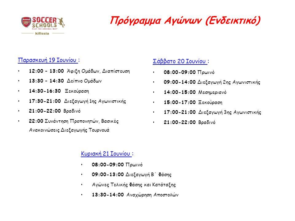 Πρόγραμμα Αγώνων (Ενδεικτικό) Παρασκευή 19 Ιουνίου : 12:00 – 13:00 Άφιξη Ομάδων, Διαπίστευση 13:30 – 14:30 Δείπνο Ομάδων 14:30-16:30 Ξεκούραση 17:30-21:00 Διεξαγωγή 1ης Αγωνιστικής 21:00-22:00 Βραδινό 22:00 Συνάντηση Προπονητών, Βασικές Ανακοινώσεις Διεξαγωγής Τουρνουά Κυριακή 21 Ιουνίου : 08:00-09:00 Πρωινό 09:00-13:00 Διεξαγωγή Β΄ Φάσης Αγώνες Τελικής Φάσης και Κατάταξης 13:30-14:00 Αναχώρηση Αποστολών Σάββατο 20 Ιουνίου : 08:00-09:00 Πρωινό 09:00-14:00 Διεξαγωγή 2ης Αγωνιστικής 14:00-15:00 Μεσημεριανό 15:00-17:00 Ξεκούραση 17:00-21:00 Διεξαγωγή 3ης Αγωνιστικής 21:00-22:00 Βραδινό