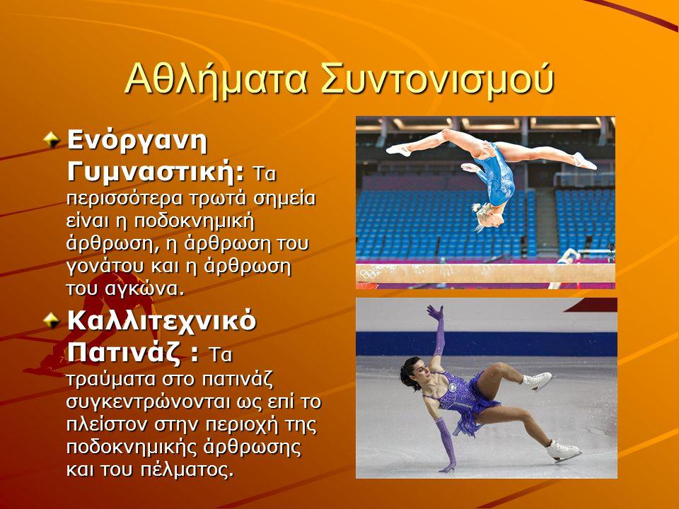 Αθλήματα Συντονισμού Ενόργανη Γυμναστική: Τα περισσότερα τρωτά σημεία είναι η ποδοκνημική άρθρωση, η άρθρωση του γονάτου και η άρθρωση του αγκώνα. Καλ