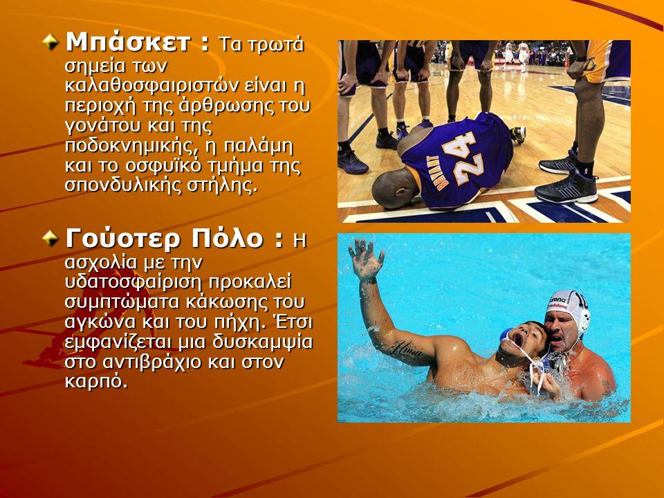 Μπάσκετ : Τα τρωτά σημεία των καλαθοσφαιριστών είναι η περιοχή της άρθρωσης του γονάτου και της ποδοκνημικής, η παλάμη και το οσφυϊκό τμήμα της σπονδυ