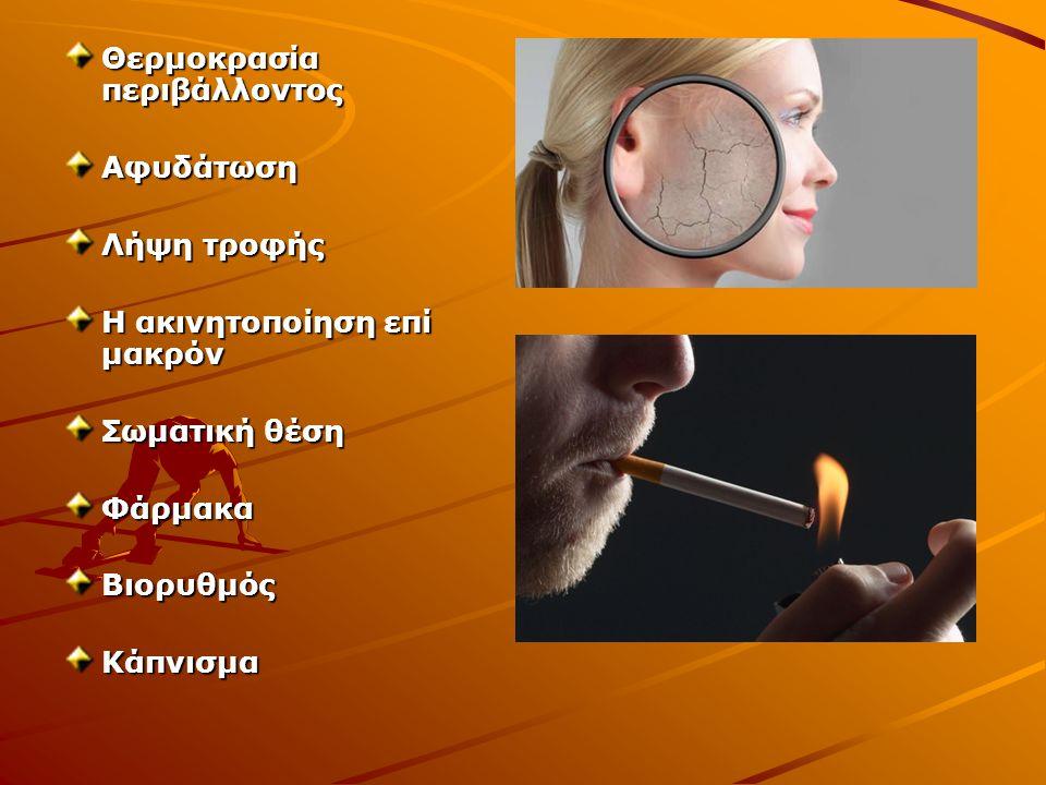 Θερμοκρασία περιβάλλοντος Αφυδάτωση Λήψη τροφής Η ακινητοποίηση επί μακρόν Σωματική θέση ΦάρμακαΒιορυθμόςΚάπνισμα