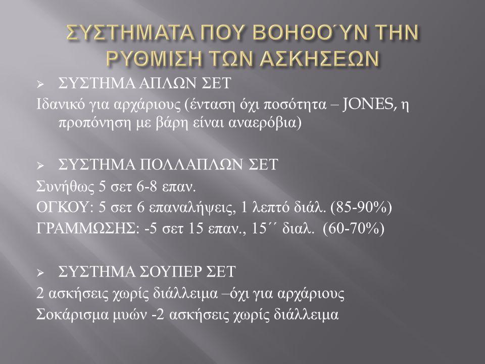  ΣΥΣΤΗΜΑ ΑΠΛΩΝ ΣΕΤ Ιδανικό για αρχάριους ( ένταση όχι ποσότητα – JONES, η προπόνηση με βάρη είναι αναερόβια )  ΣΥΣΤΗΜΑ ΠΟΛΛΑΠΛΩΝ ΣΕΤ Συνήθως 5 σετ 6
