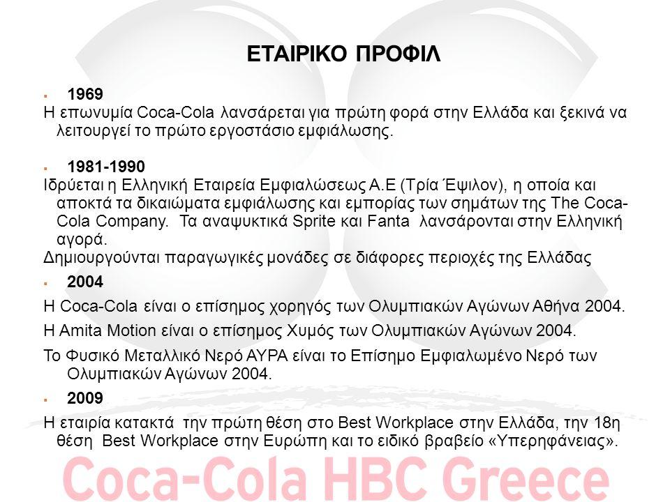 ΕΤΑΙΡΙΚΟ ΠΡΟΦΙΛ  1969 Η επωνυμία Coca-Cola λανσάρεται για πρώτη φορά στην Ελλάδα και ξεκινά να λειτουργεί το πρώτο εργοστάσιο εμφιάλωσης.  1981-1990
