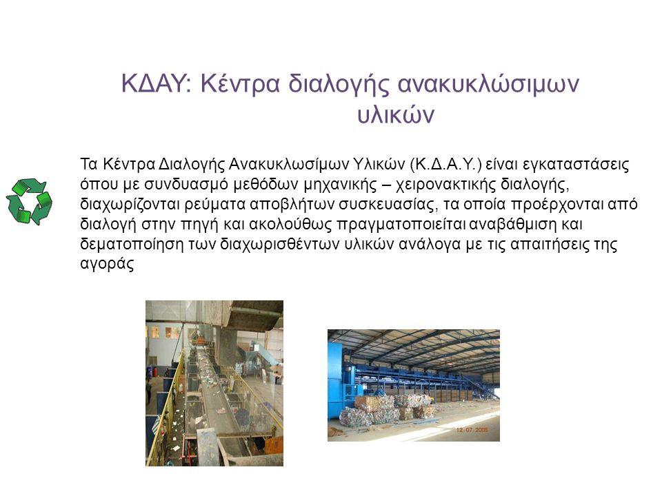 ΚΔΑΥ: Κέντρα διαλογής ανακυκλώσιμων υλικών Τα Κέντρα Διαλογής Ανακυκλωσίμων Υλικών (Κ.Δ.Α.Υ.) είναι εγκαταστάσεις όπου με συνδυασμό μεθόδων μηχανικής