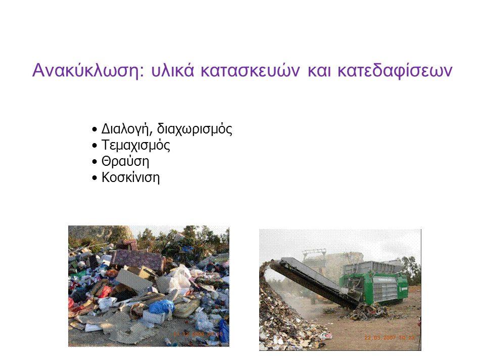 Ανακύκλωση: υλικά κατασκευών και κατεδαφίσεων Διαλογή, διαχωρισμός Τεμαχισμός Θραύση Κοσκίνιση