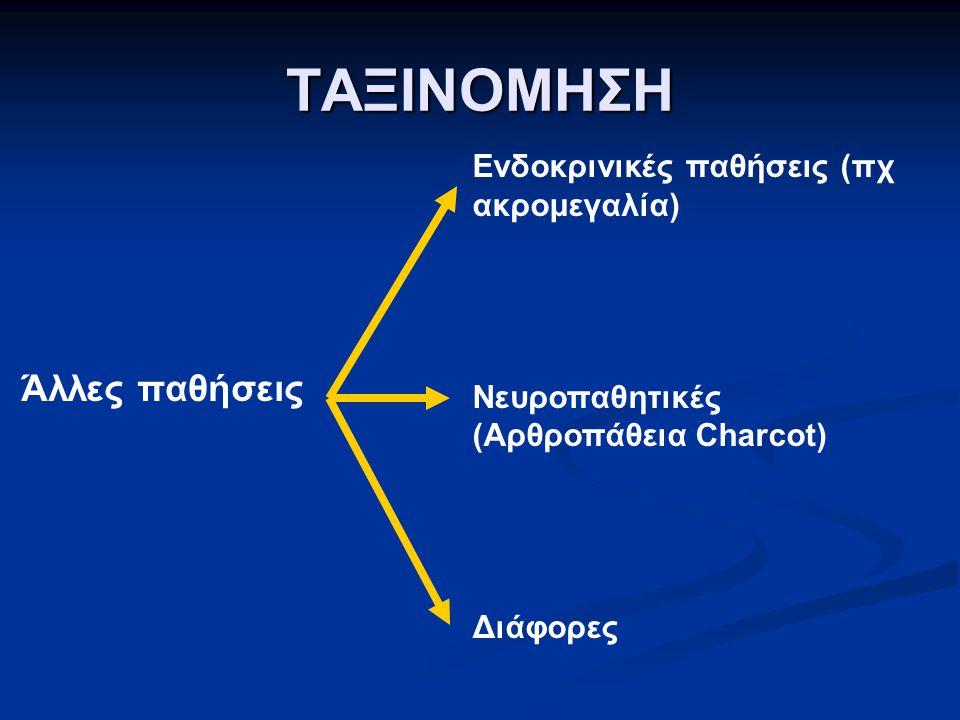 ΤΑΞΙΝΟΜΗΣΗ Άλλες παθήσεις Ενδοκρινικές παθήσεις (πχ ακρομεγαλία) Νευροπαθητικές (Αρθροπάθεια Charcot) Διάφορες