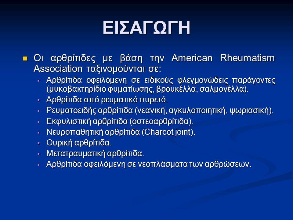 ΕΙΣΑΓΩΓΗ Οι αρθρίτιδες με βάση την American Rheumatism Association ταξινομούνται σε: Οι αρθρίτιδες με βάση την American Rheumatism Association ταξινομ