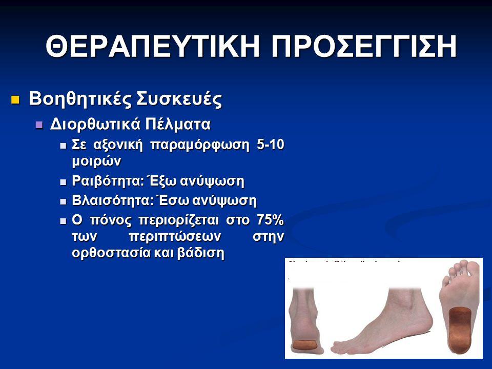 ΘΕΡΑΠΕΥΤΙΚΗ ΠΡΟΣΕΓΓΙΣΗ Βοηθητικές Συσκευές Βοηθητικές Συσκευές Διορθωτικά Πέλματα Διορθωτικά Πέλματα Σε αξονική παραμόρφωση 5-10 μοιρών Σε αξονική παρ