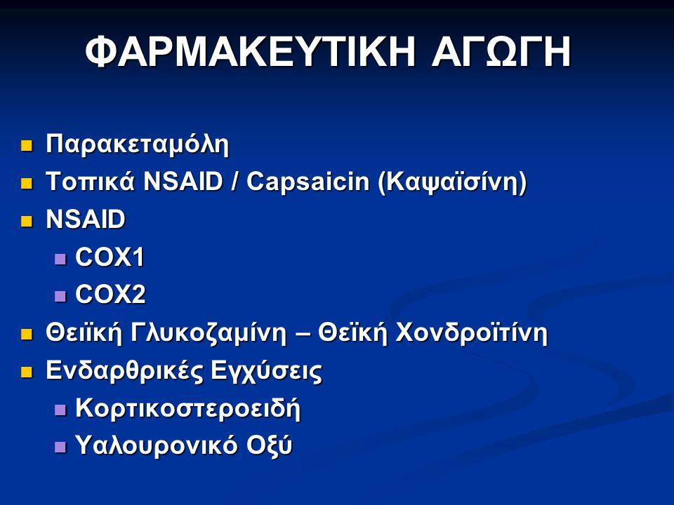 Παρακεταμόλη Παρακεταμόλη Τοπικά NSAID / Capsaicin (Καψαϊσίνη) Τοπικά NSAID / Capsaicin (Καψαϊσίνη) NSAID NSAID COX1 COX1 COX2 COX2 Θειϊκή Γλυκοζαμίνη