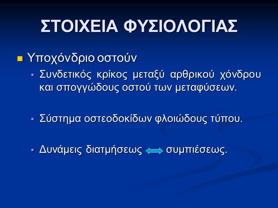ΙΣΧΙΟ ΙΣΧΙΟ  Στένωση μεσάρθριου διαστήματος  Υποχόνδρια σκλήρυνση  Σχηματισμός οστεοφύτων  Κύστεις (Eggers cysts)  Μετανάστευση μηριαίας κεφαλής (άνω και έξω / άνω και έσω / αξονική)