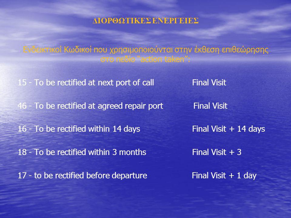 ΔΙΟΡΘΩΤΙΚΕΣ ΕΝΕΡΓΕΙΕΣ Ενδεικτικοί Κωδικοί που χρησιμοποιούνται στην έκθεση επιθεώρησης στο πεδίο action taken : 15 - To be rectified at next port of callFinal Visit 46 - To be rectified at agreed repair port Final Visit 16 - To be rectified within 14 daysFinal Visit + 14 days 18 - To be rectified within 3 months Final Visit + 3 17 - to be rectified before departure Final Visit + 1 day