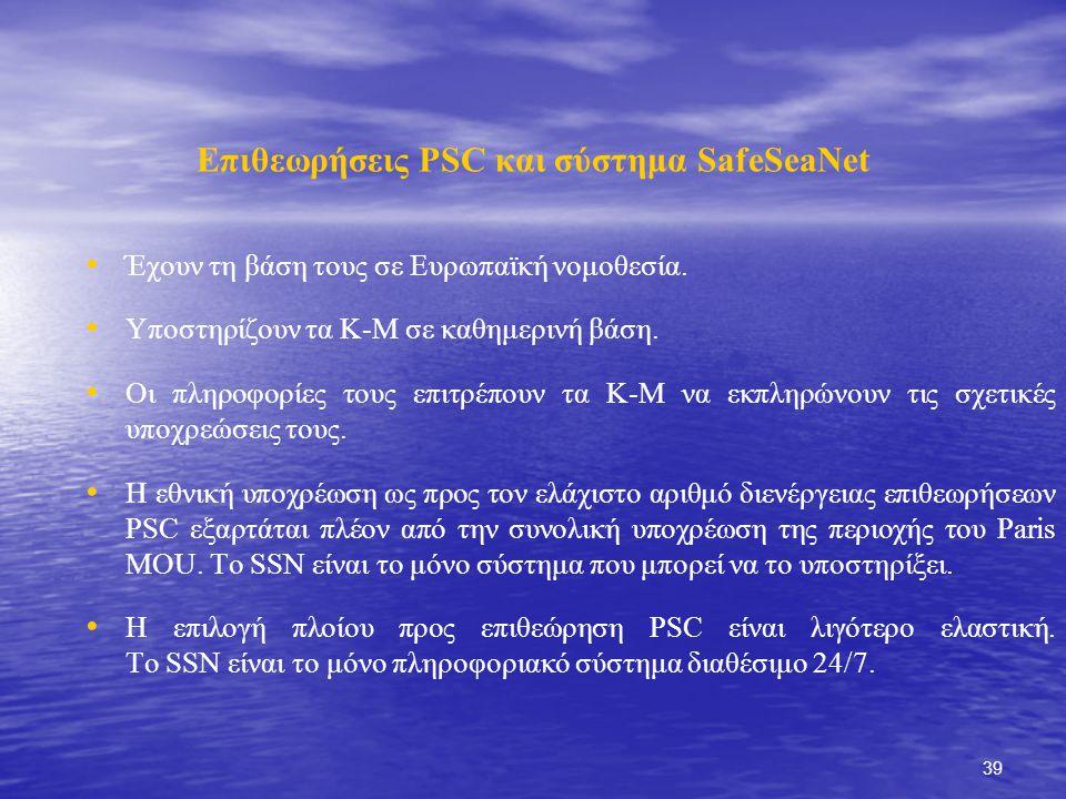 39 Επιθεωρήσεις PSC και σύστημα SafeSeaNet Έχουν τη βάση τους σε Ευρωπαϊκή νομοθεσία.