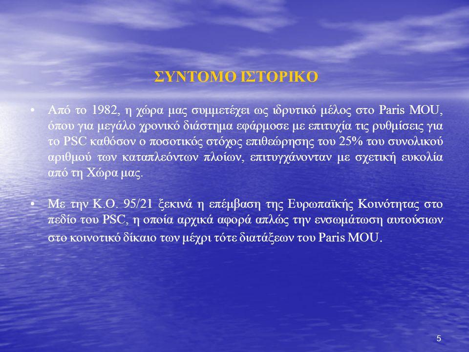 5 ΣΥΝΤΟΜΟ ΙΣΤΟΡΙΚΟ Από το 1982, η χώρα μας συμμετέχει ως ιδρυτικό μέλος στο Paris MOU, όπου για μεγάλο χρονικό διάστημα εφάρμοσε με επιτυχία τις ρυθμίσεις για το PSC καθόσον ο ποσοτικός στόχος επιθεώρησης του 25% του συνολικού αριθμού των καταπλεόντων πλοίων, επιτυγχάνονταν με σχετική ευκολία από τη Χώρα μας.