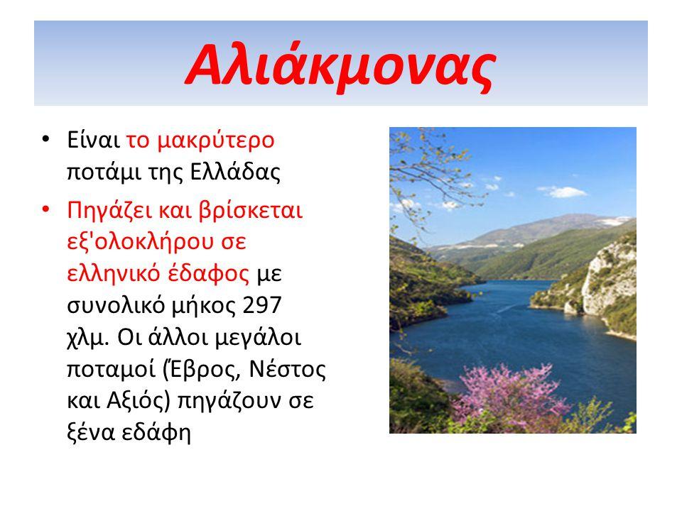 Αλιάκμονας Είναι το μακρύτερο ποτάμι της Ελλάδας Πηγάζει και βρίσκεται εξ'ολοκλήρου σε ελληνικό έδαφος με συνολικό μήκος 297 χλμ. Oι άλλοι μεγάλοι ποτ