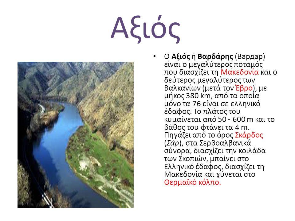 Αξιός Ο Αξιός ή Βαρδάρης (Вардар) είναι ο μεγαλύτερος ποταμός που διασχίζει τη Μακεδονία και ο δεύτερος μεγαλύτερος των Βαλκανίων (μετά τον Έβρο), με