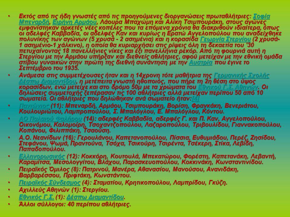 Εκτός από τις ήδη γνωστές από τις προηγούμενες διοργανώσεις πρωταθλήτριες: Σοφία Μπεναρδή, Ειρήνη Αρμάου, Λάουρα Μπαχώμη και Αλίκη Τσιμπουράκη, στους