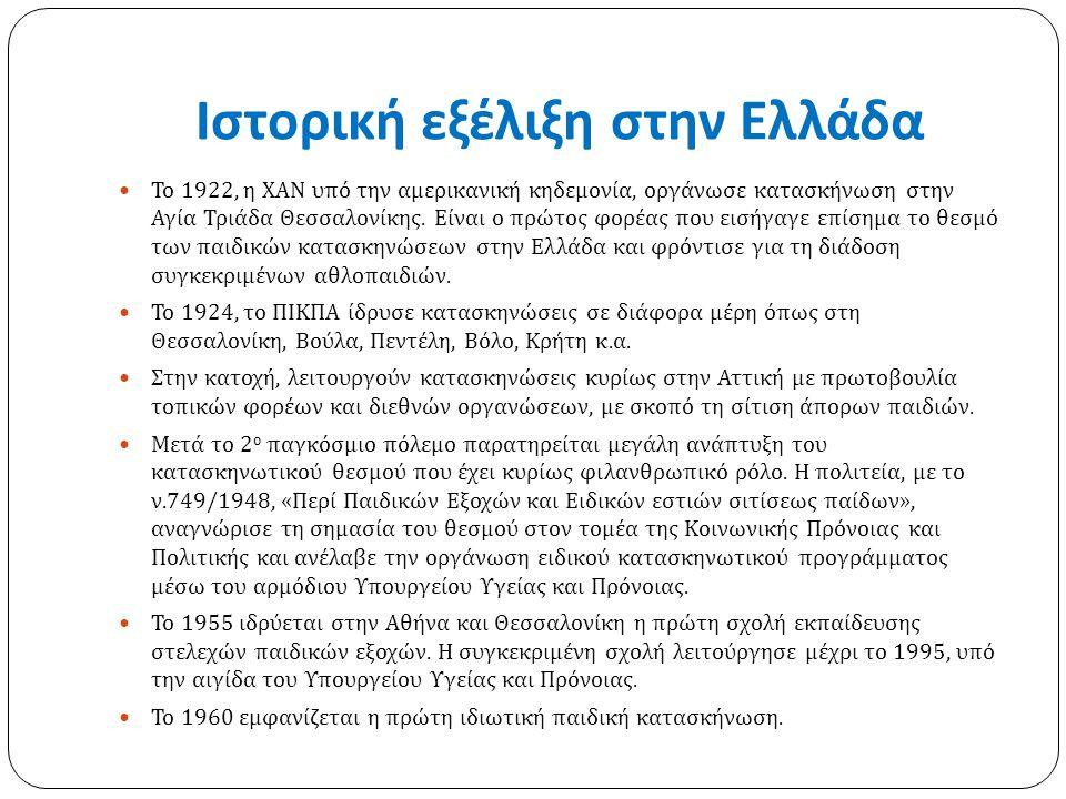 Ιστορική εξέλιξη στην Ελλάδα Το 1922, η ΧΑΝ υπό την αμερικανική κηδεμονία, οργάνωσε κατασκήνωση στην Αγία Τριάδα Θεσσαλονίκης. Είναι ο πρώτος φορέας π