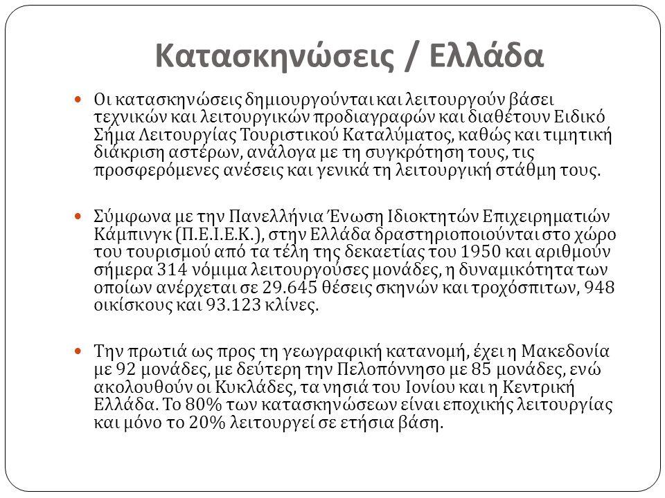 Κατασκηνώσεις / Ελλάδα Οι κατασκηνώσεις δημιουργούνται και λειτουργούν βάσει τεχνικών και λειτουργικών προδιαγραφών και διαθέτουν Ειδικό Σήμα Λειτουργίας Τουριστικού Καταλύματος, καθώς και τιμητική διάκριση αστέρων, ανάλογα με τη συγκρότηση τους, τις προσφερόμενες ανέσεις και γενικά τη λειτουργική στάθμη τους.