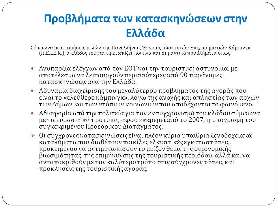 Προβλήματα των κατασκηνώσεων στην Ελλάδα Σύμφωνα με εκτιμήσεις μελών της Πανελλήνιας Ένωσης Ιδιοκτητών Επιχειρηματιών Κάμπινγκ ( Π. Ε. Ι. Ε. Κ.), ο κλ