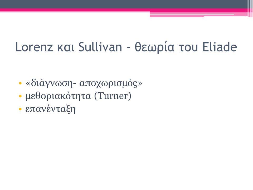Lorenz και Sullivan - θεωρία του Eliade «διάγνωση- αποχωρισμός» μεθοριακότητα (Turner) επανένταξη