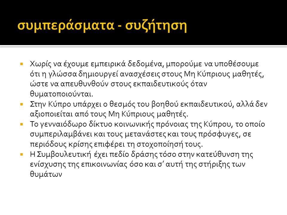  Χωρίς να έχουμε εμπειρικά δεδομένα, μπορούμε να υποθέσουμε ότι η γλώσσα δημιουργεί ανασχέσεις στους Μη Κύπριους μαθητές, ώστε να απευθυνθούν στους ε