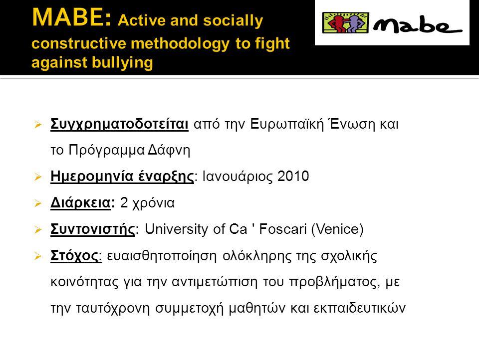  Συγχρηματοδοτείται από την Ευρωπαϊκή Ένωση και το Πρόγραμμα Δάφνη  Ημερομηνία έναρξης: Ιανουάριος 2010  Διάρκεια: 2 χρόνια  Συντονιστής: University of Ca Foscari (Venice)  Στόχος: ευαισθητοποίηση ολόκληρης της σχολικής κοινότητας για την αντιμετώπιση του προβλήματος, με την ταυτόχρονη συμμετοχή μαθητών και εκπαιδευτικών