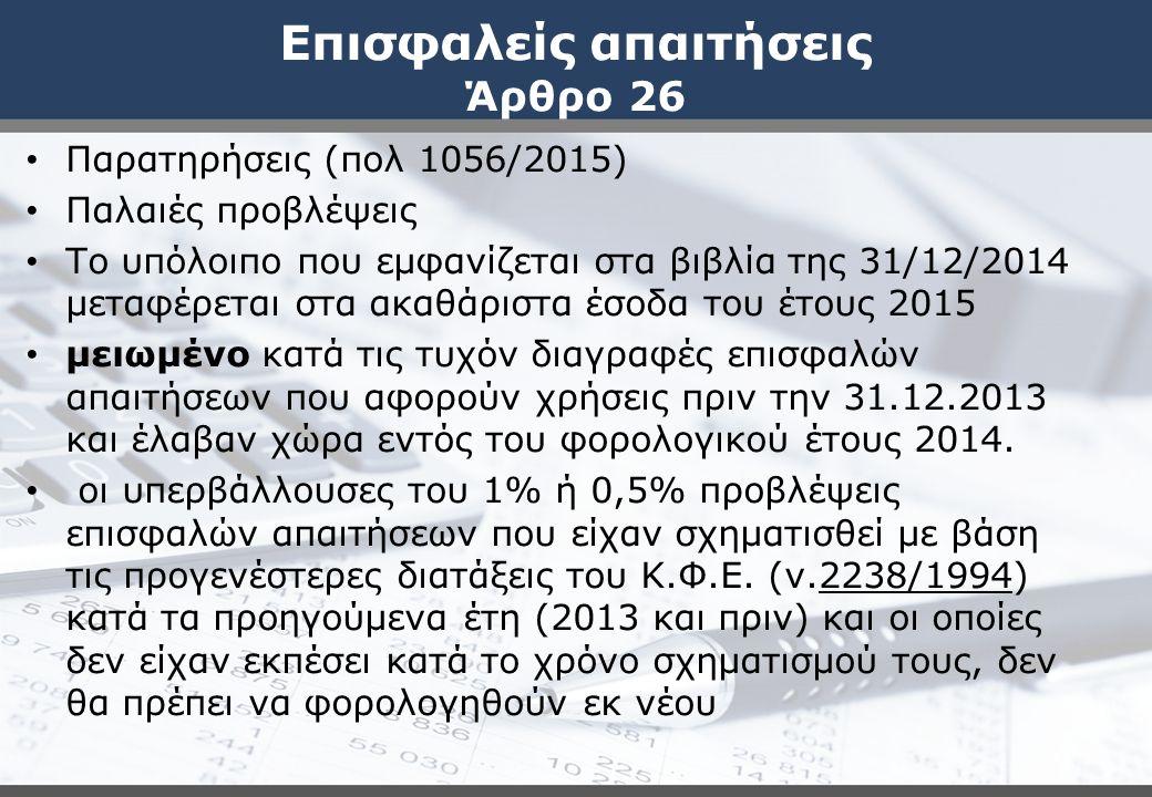 Επισφαλείς απαιτήσεις Άρθρο 26 Παρατηρήσεις (πολ 1056/2015) Παλαιές προβλέψεις Το υπόλοιπο που εμφανίζεται στα βιβλία της 31/12/2014 μεταφέρεται στα α