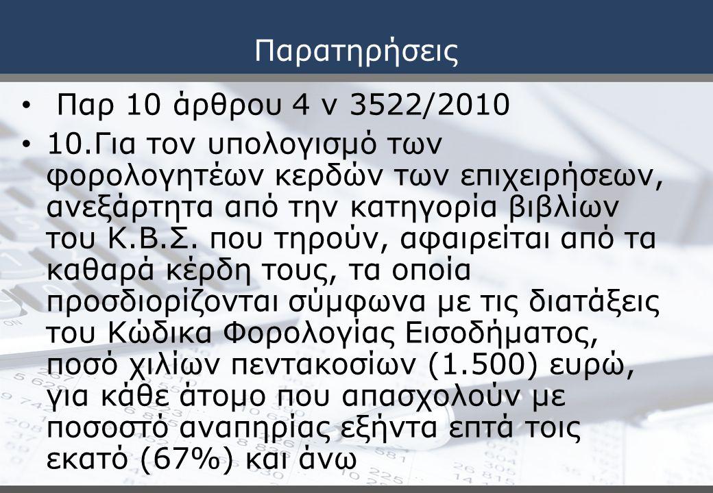 Παρατηρήσεις Παρ 10 άρθρου 4 ν 3522/2010 10.Για τον υπολογισμό των φορολογητέων κερδών των επιχειρήσεων, ανεξάρτητα από την κατηγορία βιβλίων του Κ.Β.Σ.