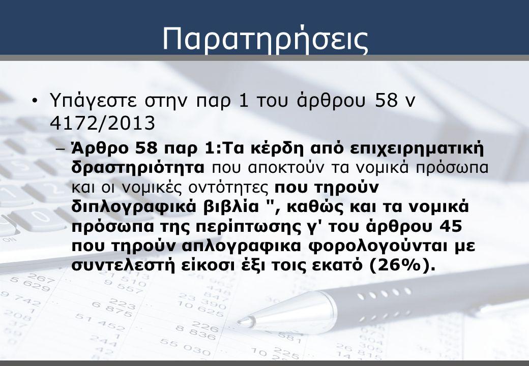 Επισφαλείς απαιτήσεις Άρθρο 26 Παρατηρήσεις (πολ 1056/2015) Παλαιές προβλέψεις Το υπόλοιπο που εμφανίζεται στα βιβλία της 31/12/2014 μεταφέρεται στα ακαθάριστα έσοδα του έτους 2015 μειωμένο κατά τις τυχόν διαγραφές επισφαλών απαιτήσεων που αφορούν χρήσεις πριν την 31.12.2013 και έλαβαν χώρα εντός του φορολογικού έτους 2014.