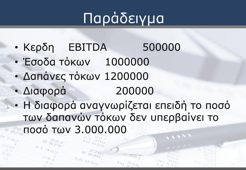 Παράδειγμα Κερδη EBITDA 500000 Έσοδα τόκων 1000000 Δαπάνες τόκων 1200000 Διαφορά 200000 Η διαφορά αναγνωρίζεται επειδή το ποσό των δαπανών τόκων δεν υπερβαίνει το ποσό των 3.000.000